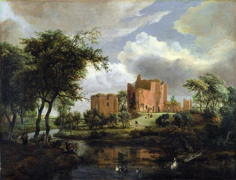 Meindert Hobbema - The Ruins of Brederode Castle. Part 5 National Gallery UK