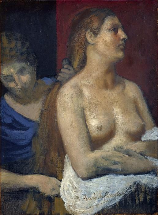 Pierre-Cecile Puvis de Chavannes - A Maid combing a Womans Hair. Part 5 National Gallery UK