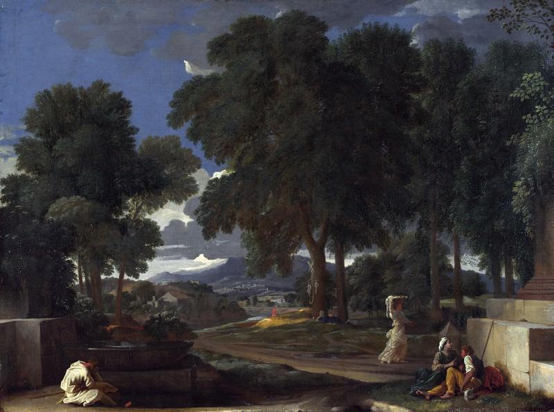 Никола Пуссен - Пейзаж с мужчиной, моющим ноги в источнике ...