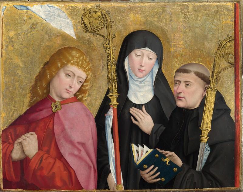 Master of Liesborn - Saints John the Evangelist, Scholastica and Benedict. Part 5 National Gallery UK