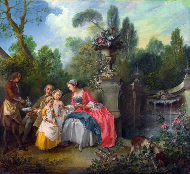 Nicolas Lancret - A Lady in a Garden taking Coffee with some Children. Part 5 National Gallery UK