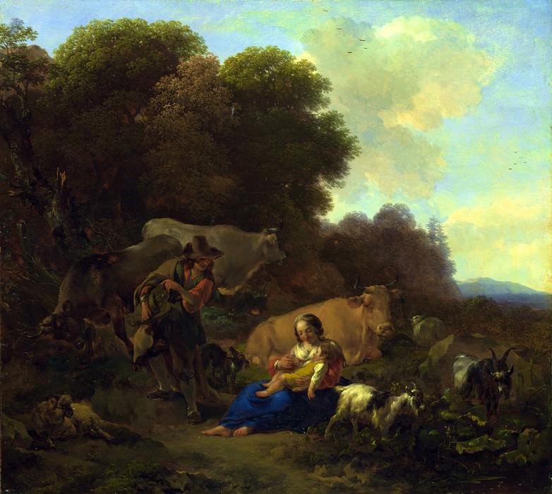 Николас Берхем - Пейзаж с пастухами (Шарманщик, играющий женщине с ребенком). Часть 5 Национальная галерея