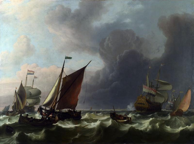 Ludolf Bakhuizen - Dutch Men-of-war off Enkhuizen. Part 5 National Gallery UK