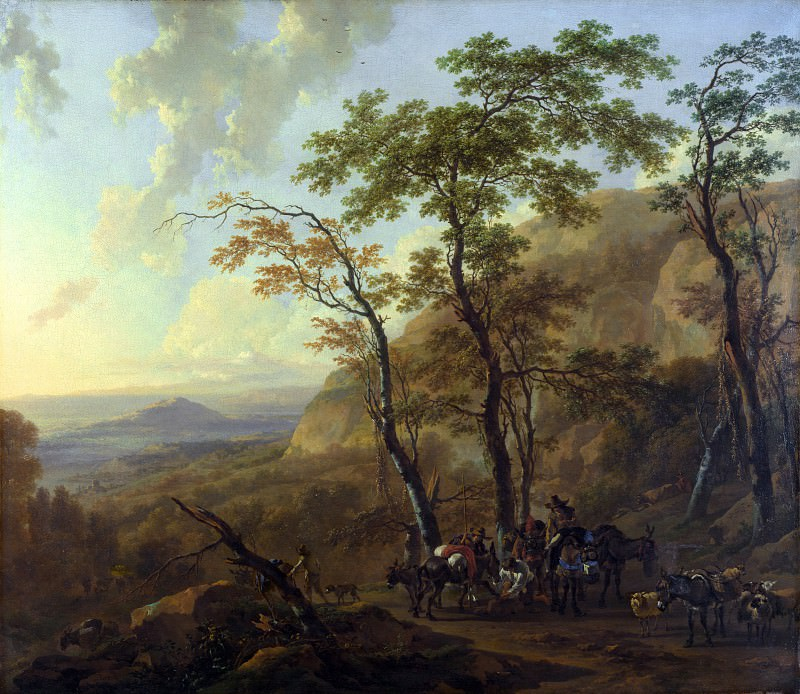 Nicolaes Berchem - Mountainous Landscape with Muleteers. Part 5 National Gallery UK