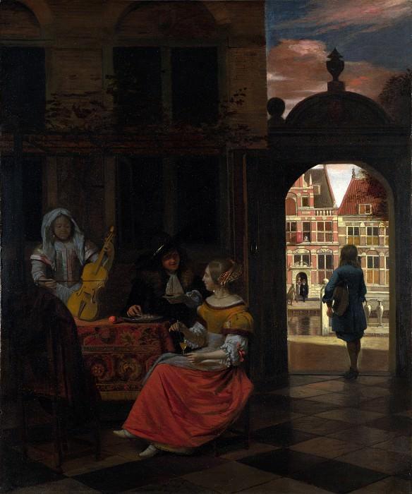 Pieter de Hooch - A Musical Party in a Courtyard. Part 5 National Gallery UK