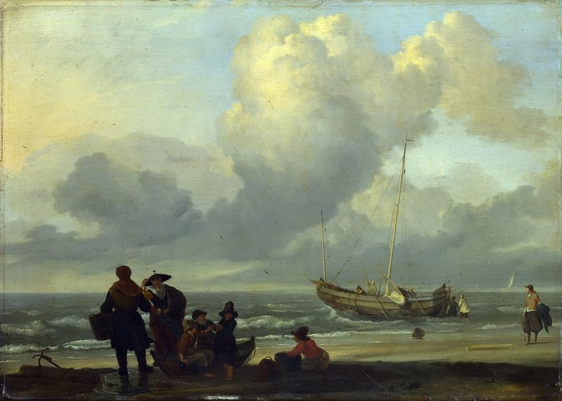 Ludolf Bakhuizen - A Beach Scene with Fishermen. Part 5 National Gallery UK