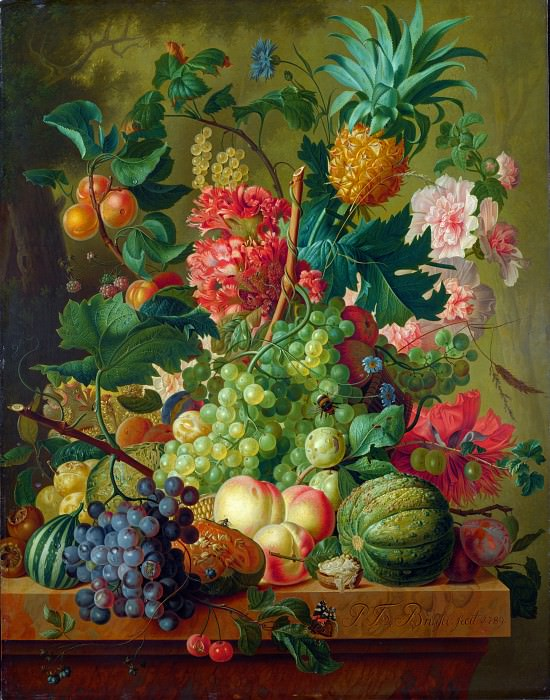 Paulus Theodorus van Brussel - Fruit and Flowers. Part 5 National Gallery UK