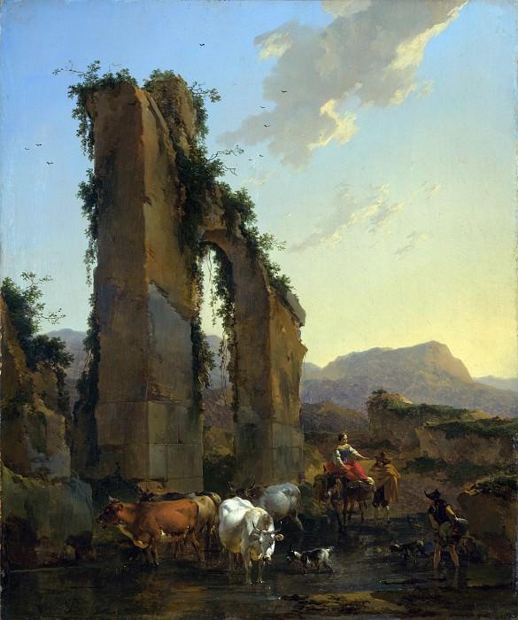 Николас Берхем - Пейзаж с пастухами и стадом у руин античного акведука. Часть 5 Национальная галерея