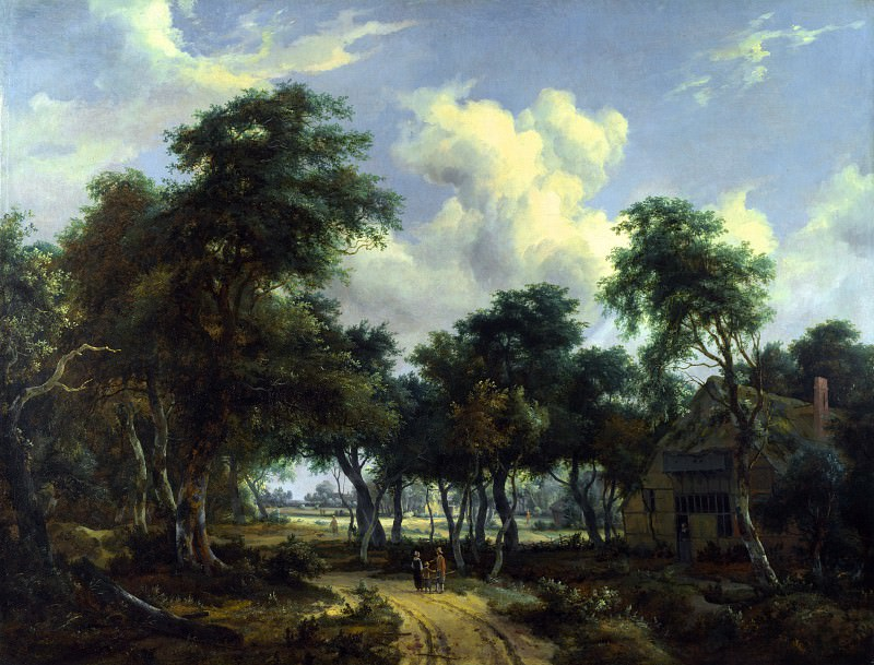 Meindert Hobbema - A Woody Landscape with a Cottage. Part 5 National Gallery UK