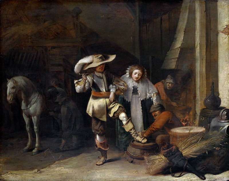 Pieter Quast - A Man and a Woman in a Stableyard. Part 5 National Gallery UK