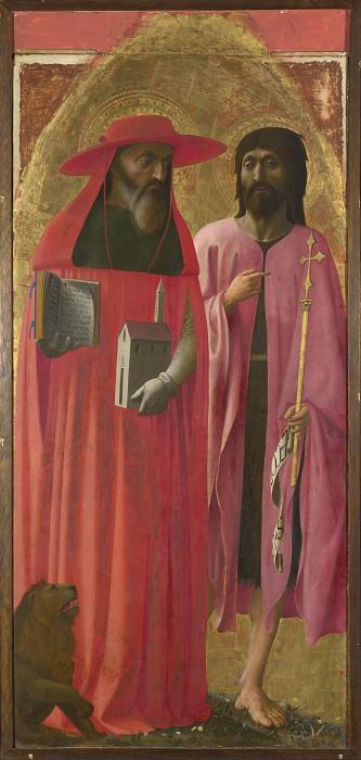 Masaccio - Saints Jerome and John the Baptist. Part 5 National Gallery UK