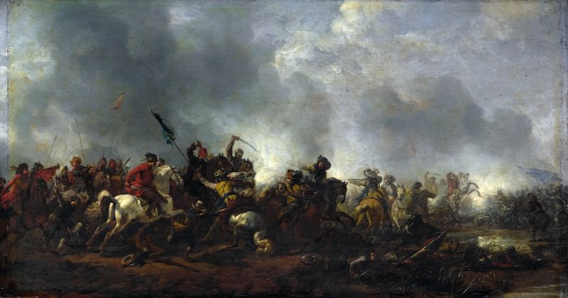 Philips Wouwermans - Cavalry attacking Infantry. Part 5 National Gallery UK