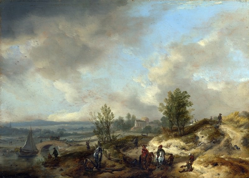 Philips Wouwermans - A Dune Landscape with a River and Many Figures. Part 5 National Gallery UK