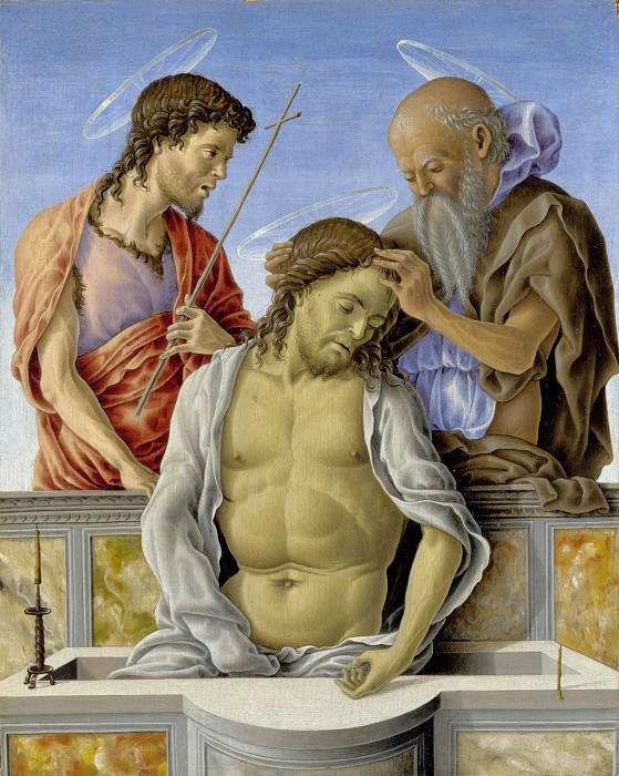 Marco Zoppo - The Dead Christ supported by Saints. Part 5 National Gallery UK