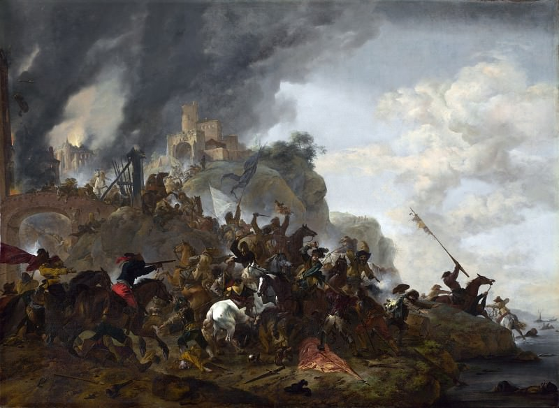 Philips Wouwermans - Cavalry making a Sortie from a Fort on a Hill. Part 5 National Gallery UK