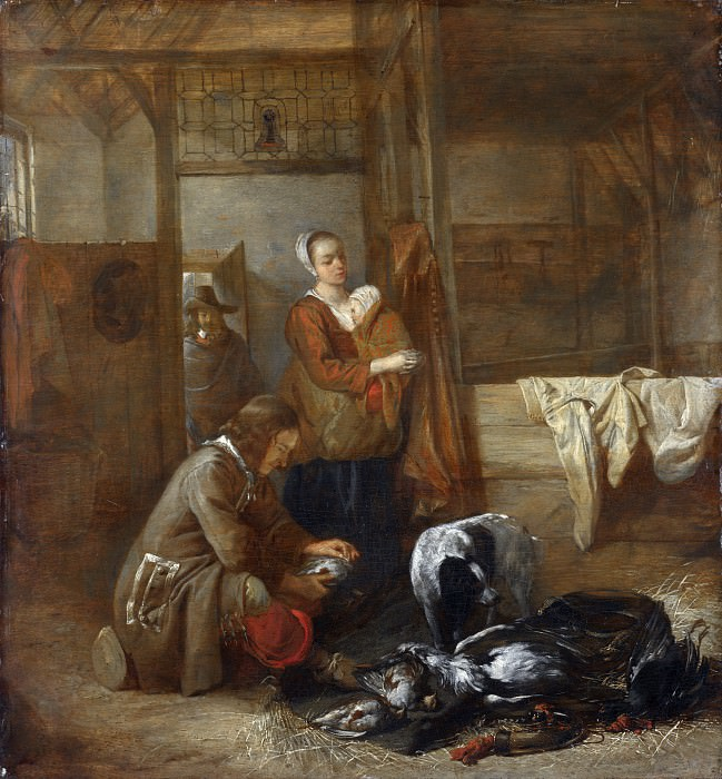 Pieter de Hooch - A Man with Dead Birds, and Other Figures, in a Stable. Part 5 National Gallery UK