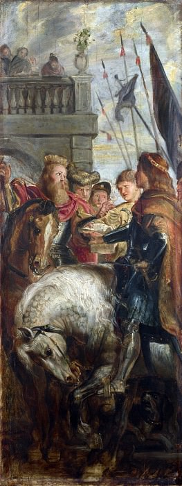 Kings Clothar and Dagobert dispute with a Herald. Peter Paul Rubens