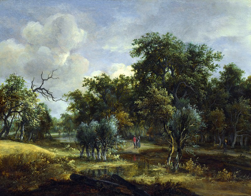 Meindert Hobbema - A Stream by a Wood. Part 5 National Gallery UK