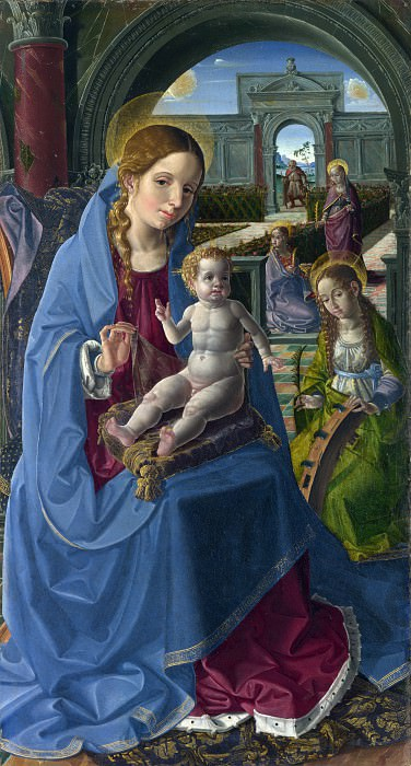 Paolo da San Leocadio - The Virgin and Child with Saints. Part 5 National Gallery UK
