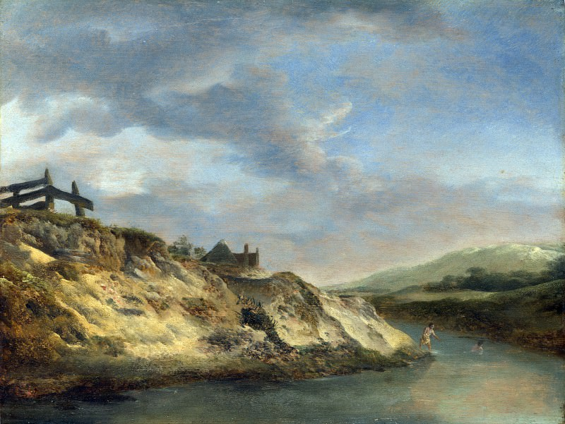 Philips Wouwermans - A Stream in the Dunes, with Two Bathers. Part 5 National Gallery UK