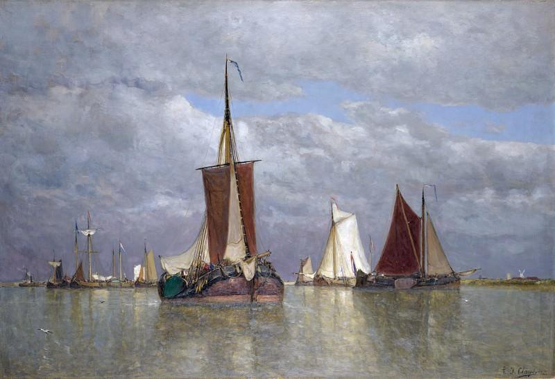 Paul Jean Clays - Ships lying near Dordrecht. Part 5 National Gallery UK
