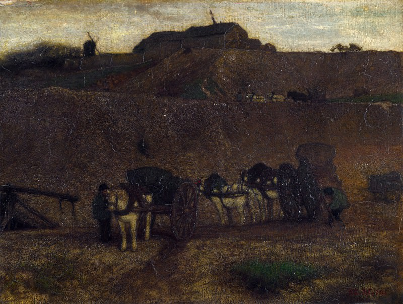 Matthijs Maris - Men unloading Carts, Montmartre. Part 5 National Gallery UK