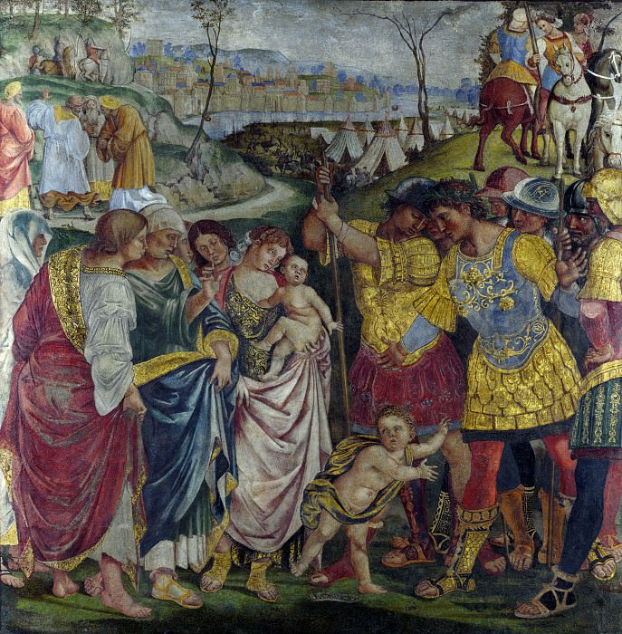 Luca Signorelli - Coriolanus persuaded by his Family to spare Rome. Part 5 National Gallery UK