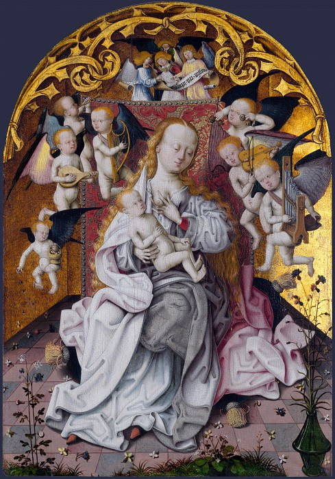 Master of the Saint Bartholomew Altarpiece - The Virgin and Child with Musical Angels. Part 5 National Gallery UK
