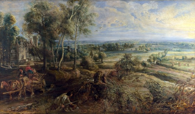 Peter Paul Rubens - A View of Het Steen in the Early Morning. Part 5 National Gallery UK