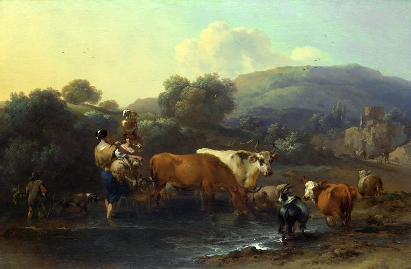 Николас Берхем - Пастухи со стадом, переходящие ручей. Часть 5 Национальная галерея