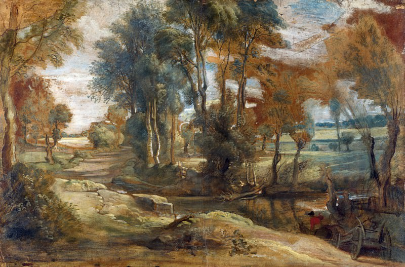 A Wagon fording a Stream. Peter Paul Rubens