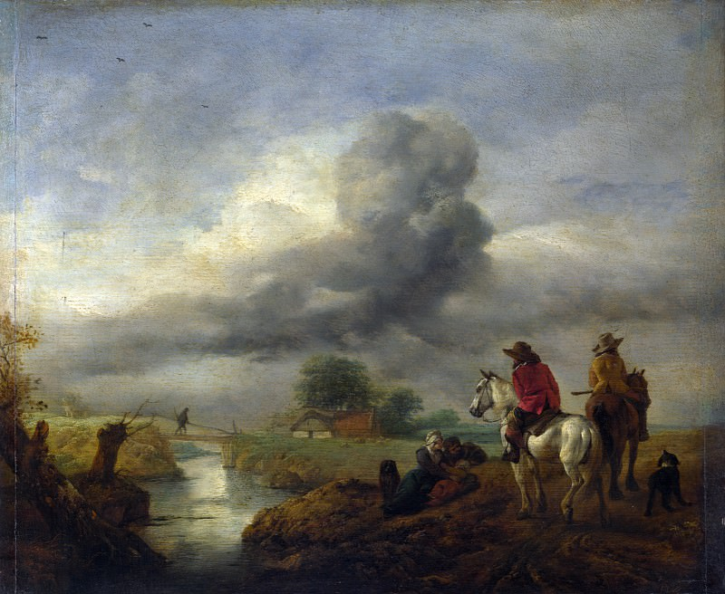 Philips Wouwermans - Two Vedettes on the Watch by a Stream. Part 5 National Gallery UK