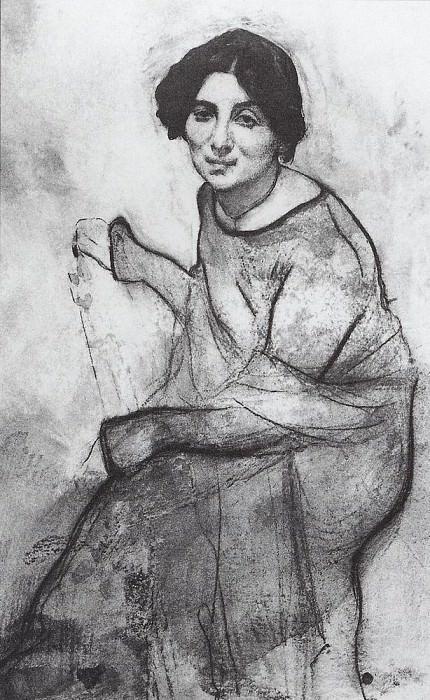 Portrait of pianist Wanda Landowska. 1907. Valentin Serov