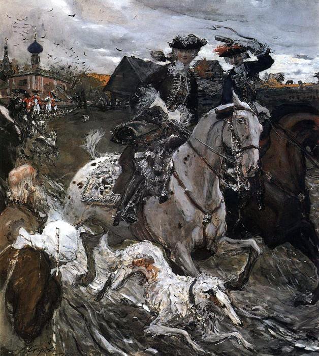 Peter II and Princess Elizabeth Petrovna Riding to Hounds. 1900. Valentin Serov