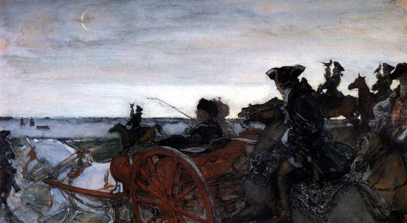 Departure of Catherine II in falconry. 1,902. Valentin Serov