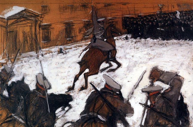 Soldiers, brave lads! Where is your glory. 1905. Valentin Serov