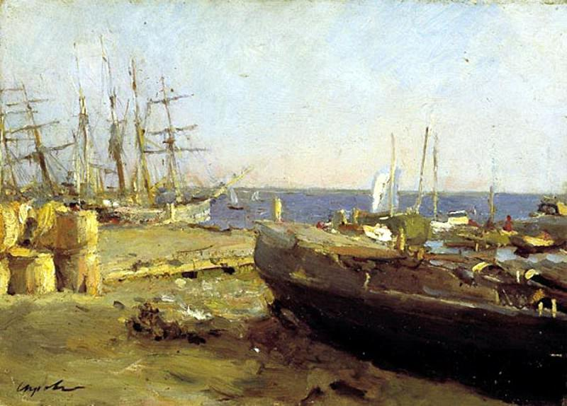 Fishing vessels in Arkhangelsk. 1894. Valentin Serov