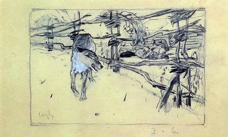 Wolf and the shepherds. 1898. Valentin Serov