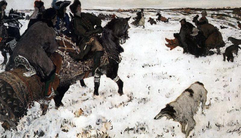 Peter I on hunting. 1,902. Valentin Serov