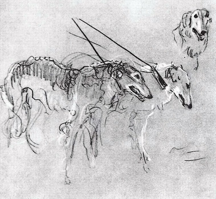 Greyhounds royal hunting. 1900-1901. Valentin Serov
