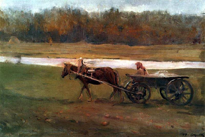 Baba in the cart. 1896. Valentin Serov