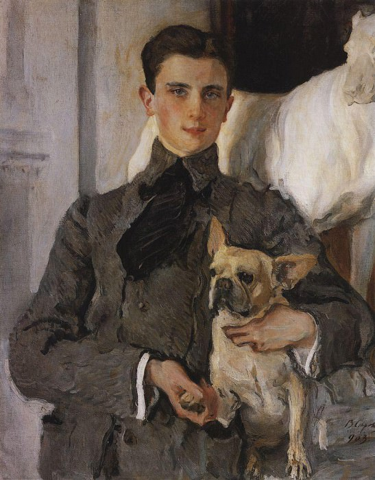 Portrait of Count Felix Sumarokov - Elston, later Prince Yusupov, with a dog. 1903. Valentin Serov