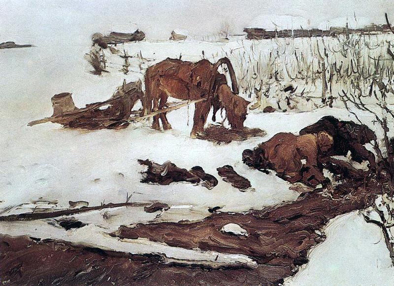 Полосканье белья (На речке). 1901. Валентин Александрович Серов