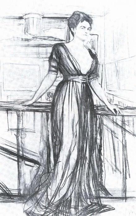 Набросок к портрету П. И. Щербатовой1. 1911. Валентин Александрович Серов