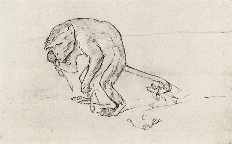 Monkey and glasses. 1911. Valentin Serov