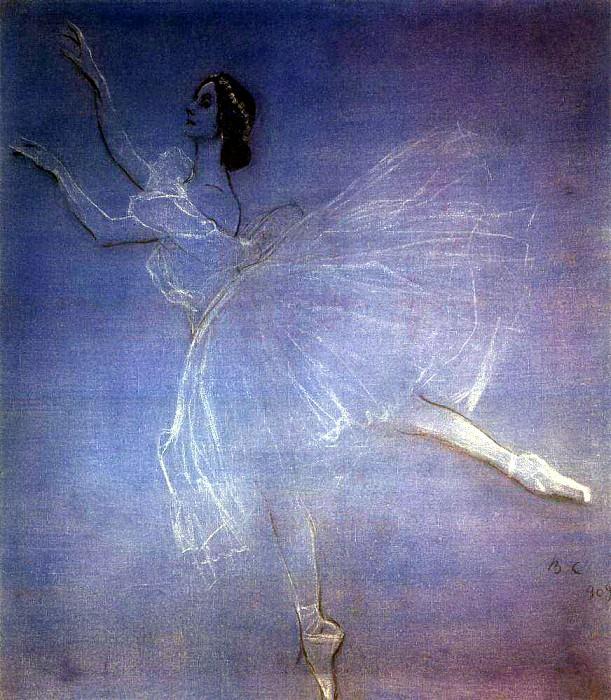Anna Pavlova the ballet Les Sylphides. 1909. Valentin Serov