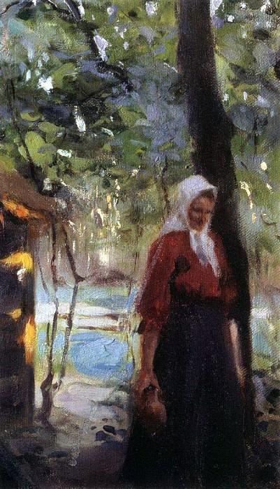 Женщина с крынкой. Конец XIX - начало XX века. Валентин Александрович Серов