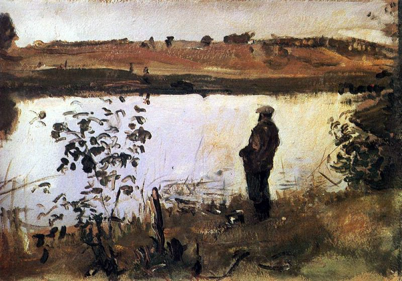 Artist Konstantin Korovin on the river bank. 1905. Valentin Serov