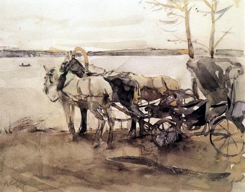 at the ferry. 1905. Valentin Serov