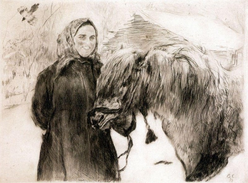 old woman with a horse. 1899. Valentin Serov